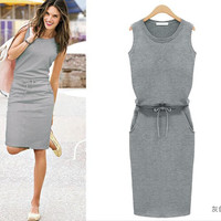 Sleeveless Knee-Length Pencil Dress