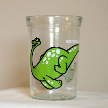 Vintage Welch's Brontosaurus Dinosaur Juice Glass- Jelly Jar- Drinking Glass- SWANKY SWIG