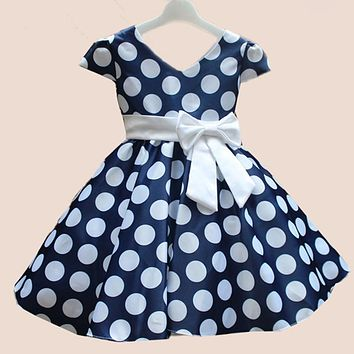 2016 New Baby Girl Short Sleeve Bow Princess Dress Children's Kids Polka Dot Party Wedding Tutu Dresses Costumes For 2-7Y C365