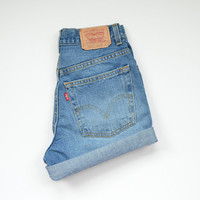 "LEVIS high waisted shorts / medium wash denim / cuffed hem / size 25"" waist"