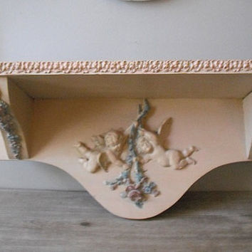 vintage Shabby chic Gesso Shelf with Cherubs roses swags ... Pink paint ... OH LALA