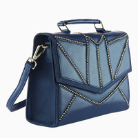 Stud Design Structured Handle Satchel Handbag