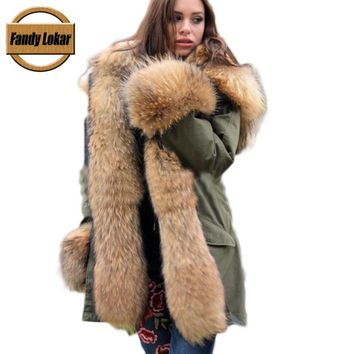 Real Fox Fur Collar Hooded Coat Women Winter Real Rex Rabbit Fur Liner Loose Warm Jacket Women Vintage Fur Parka Female