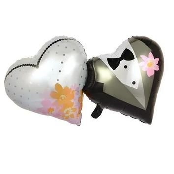 BINGTIAN  36inch Large double heart bride and groom heart foil mylar balloons