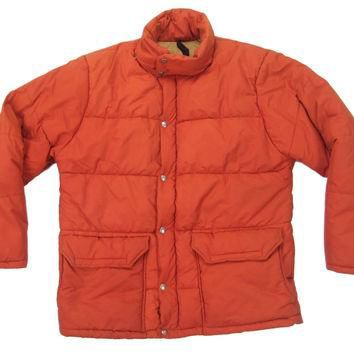 The North Face Down Jacket Vintage Retro 1970s 1980s Men¡¯s Burnt Orange 60/40 Zip Puff