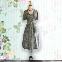 Vintage 1950s Dress - 50s Soft Green Floral Cotton Day Dress