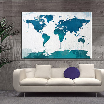 Watercolor World Map Canvas Wall Art, Blue World Map Wall Decor, World Map Wall Art, No:047