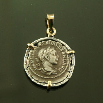 ancient coin pendant with silver ancient roman coin, sterling silver and 18 karat gold pendant with silver ancient roman coin