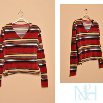 Vintage 1970s Striped Velour Blouse with Long Sleeves
