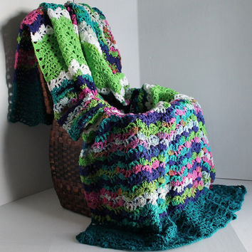 Afghan - Lacy Ripple Crochet Blanket - Spring Green, Teal, and Colorful Multi