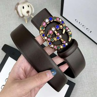 GUCCI Fashion Women Colorful Diamond Smooth Buckle Belt Leather Belt Coffee
