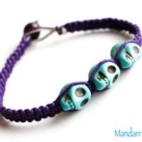Skull Bracelet, Purple Hemp Cord, Teal Skulls, Day of the Dead, Hand Knotted Macrame Jewelry, Gift for Her