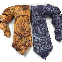Clockwork tie, deep blue, Steampunk tie, light blue, steampunk gears cogs, clockwork necktie, clock gears tie, steampunk accessory