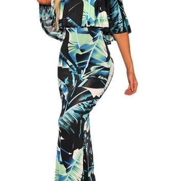 Chic Black Green Tropical Leaf Print Off the shoulder Maxi Dress