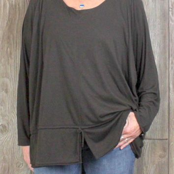 New Wynne 3x size Brown Tunic Top Womens Soft Work Casual Plus Shirt USA Made