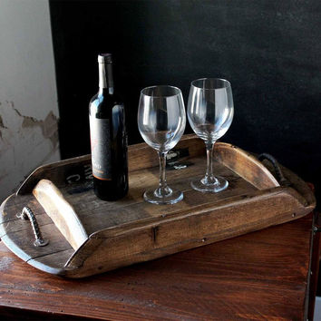 Handmade Reclaimed Barrel Wood Serving Tray