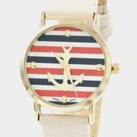 Nautical Hour Anchor Striped Watch in Ivory | Sincerely Sweet Boutique