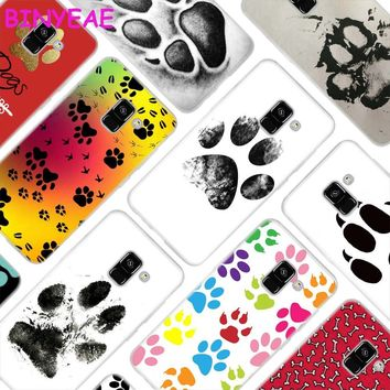 BINYEAE Dogs are girls best friends Dog paw Soft Transparent silicone Phone Cases for Samsung Galaxy A3 A5 A6 A7 A8 2017 2018