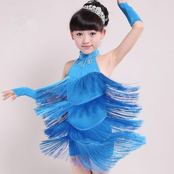 2017 New Children Tassel Latin Dance Performance Costumes Uniforms Girls Dance Dress Clothes Children's Performance Clothing Hot