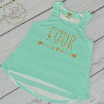 Four Year Old Birthday Girl Shirt 4 Year Old Birthday Shirt Girl Fourth Birthday Shirt Girl 4th Birthday Outfit Girl Green Tank Top 133