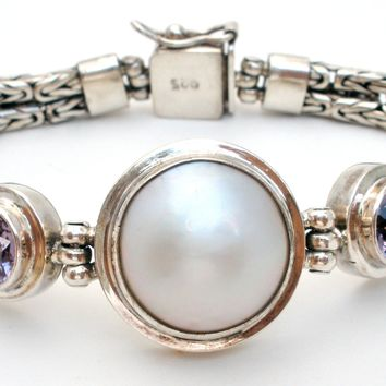 Gemstone Bracelet with Mabe Pearl Sterling Silver