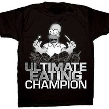 New Licensed Simpsons Homer Ultimate Eating Champion Adult T-Shirt S M L XL XXL