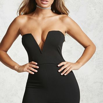 Strapless Plunging Jumpsuit
