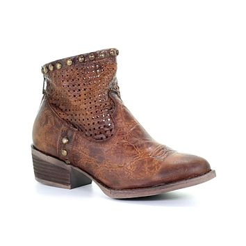Circle G by Corral Honey Cut Out & Studs Ankle Boot