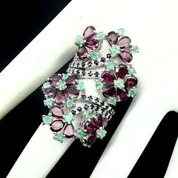 14K White Gold Natural Rhodolite Garnet Green Emerald Blue Sapphire Ring