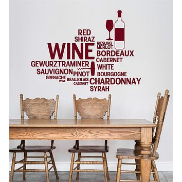 Vinyl Wall Decal Wine Bar Bottle Glass Restaurant Words Stickers Unique Gift (ig4711)