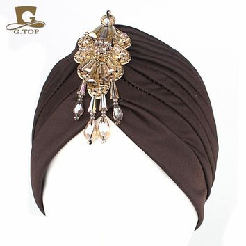 NEW Luxury Divas turban Head wrap hat  with beaded pendant women Headwear