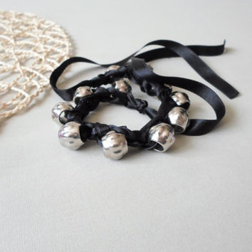 Wrap Bracelet / Necklace. Metalic beads wrap bracelet with black satin ribbon. Crochet wrap bracelet / necklace.