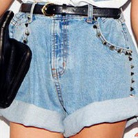 Baggy Oversized High Waisted Studded Roll-up Denim Shorts from jcjw