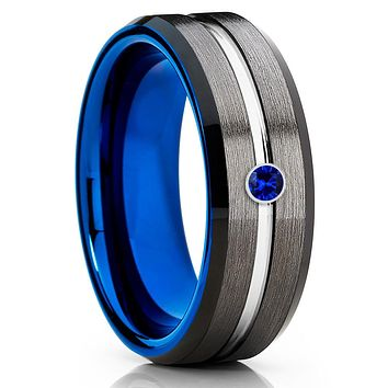 Gray Tungsten Ring - Blue Sapphire Tungsten Ring - Blue Tungsten Ring