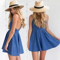 Summer Hot Sale Backless Deep V Sexy Spaghetti Strap Denim Dress One Piece Dress [11136606095]