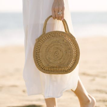 Marianne Straw Rattan Handle Bag