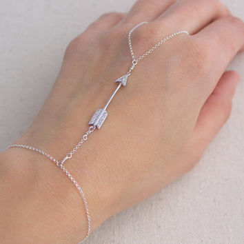 Sterling Silver CZ Arrow Hand Chain- Slave Bracelet