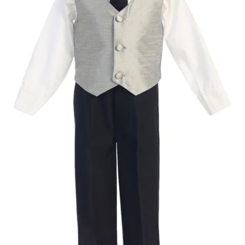 Silver & Black 4-pc Boys Vest & Pants Dresswear Set 6m-7