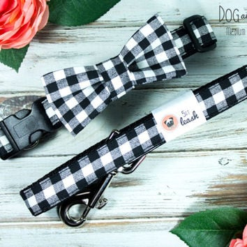 Black and White Gingham Dog Collar with Removable Bow Tie
