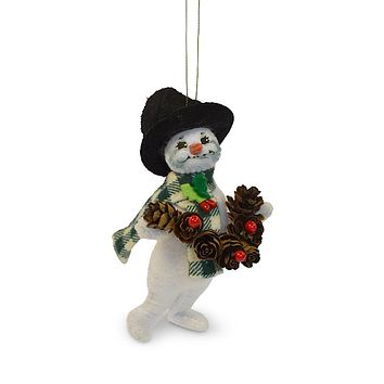 Annalee Dolls 3in 2018 Christmas Northwoods Snowman Ornament Plush New with Box
