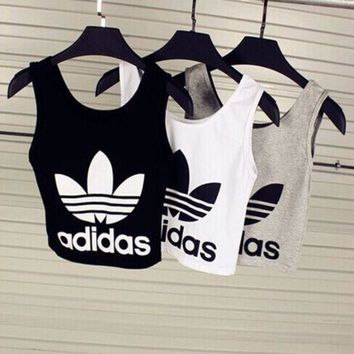"""Adidas"" Fashion Short Crop Top Vest Tank Cami"