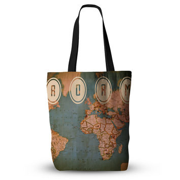 "Ann Barnes ""Roam II"" World Map Everything Tote Bag"