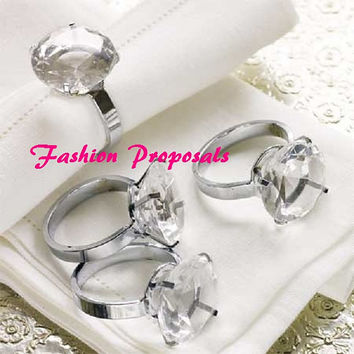 48 Crystal Diamond gem silver napkin ring, bling crystal napkin ring, holder, Wedding Crystal Gem napkin ring  48 pcs  119.00