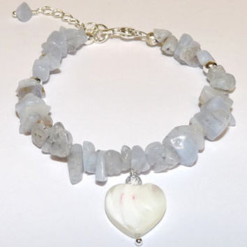 Bracelet, Blue Lace Agate, Mother of Pearl, MOP, silver chain and clasp, Hand Crafted, Ooak
