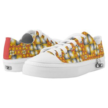 Circles Pattern on a Honeycomb Background Low-Top Sneakers