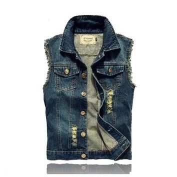 4 COLORS Fashion Men's Denim Vest Jeans Slim Fit Mens Sleeveless Jacket Plus Size Patchwork Waistcoat Summer Autumn Winter [9305640519]