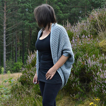 Oversized cocoon cardigan / shrug batwing sweater wrap / loose sweater / grey / cotton and acrylic sweater / crochet