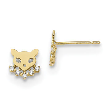 14k Madi K Childrens Cat w/CZ Collar Post Earrings SE2569