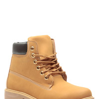 Camel Faux Nubuck Lace Up Hiker Boots
