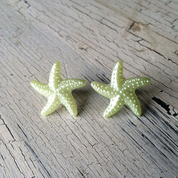 Green Starfish Earrings - Starfish Stud Earrings - Acrylic Stud Earrings, Starfish Post Earrings